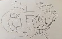Al Frankens Freehand Drawing Of The United States Map From Memory - Al franken draws us map