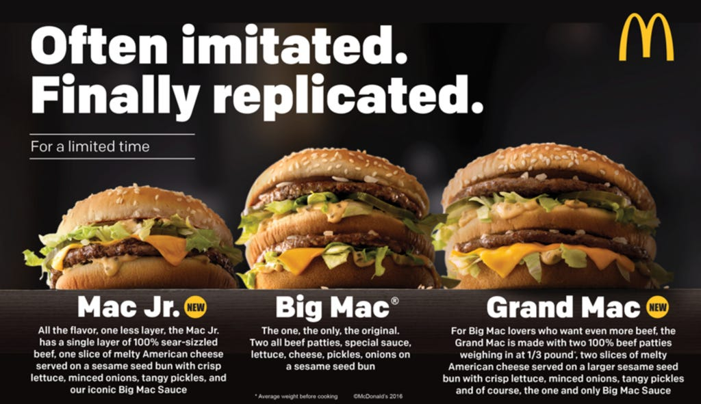 Mcdonalds is releasing two new big mac sizes so thats good screen shot 2016 11 09 at 100056 am ccuart Image collections